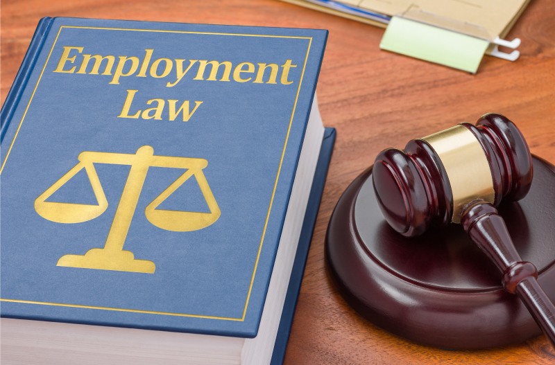 Employment law book on table